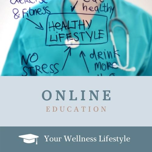 Your Wellness Lifestyle online course logo depicting a healthcare provider illustrating wellness concepts